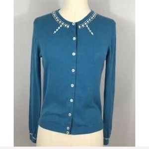 Marc Jacobs Blue Embellished Button Down Cardigan